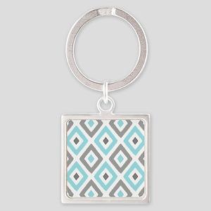 Ikat Pattern Aqua and Grey Diamond Square Keychain