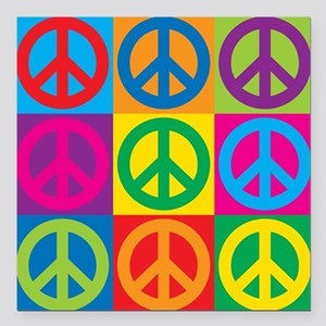 "Pop Art Peace Square Car Magnet 3"" x 3"""