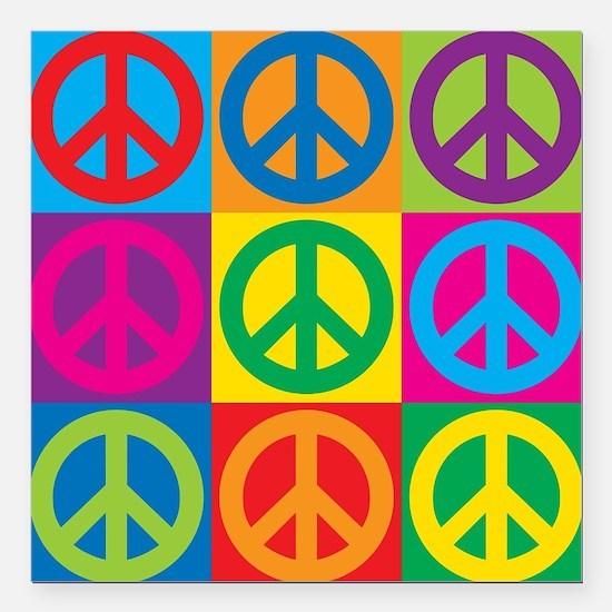 """Pop Art Peace Square Car Magnet 3"""" x 3"""""""