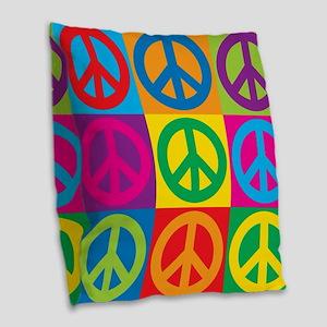 Pop Art Peace Burlap Throw Pillow