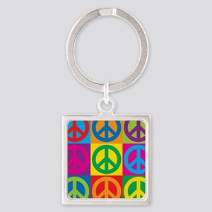 Pop Art Peace Square Keychain