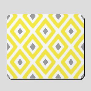 Ikat Pattern Yellow and Grey Diamond Mousepad