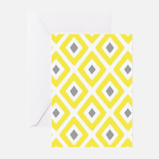 Ikat Pattern Yellow and Greeting Cards (Pk of 10)