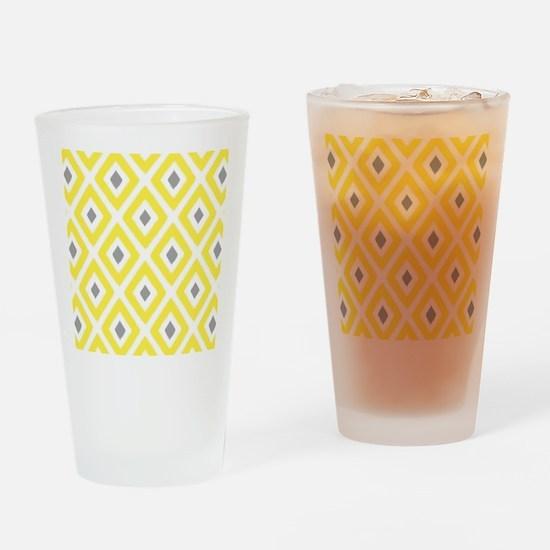 Ikat Pattern Yellow and Grey Diamon Drinking Glass