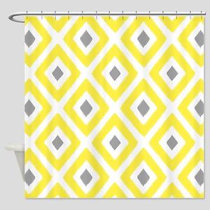 Ikat Pattern Yellow and Grey Diamon Shower Curtain