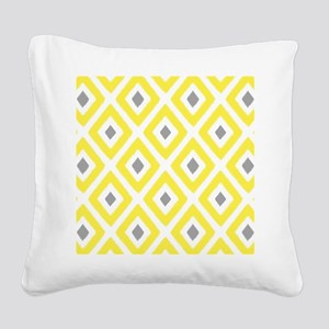 Ikat Pattern Yellow and Grey Square Canvas Pillow