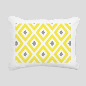 Ikat Pattern Yellow and Rectangular Canvas Pillow