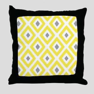 Ikat Pattern Yellow and Grey Diamond Throw Pillow