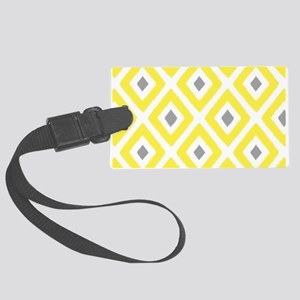 Ikat Pattern Yellow and Grey Dia Large Luggage Tag