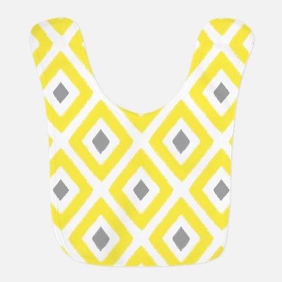 Ikat Pattern Yellow and Grey Diamond Bib