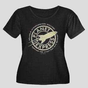 Planet E Women's Plus Size Scoop Neck Dark T-Shirt