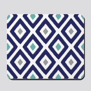 Ikat Pattern Navy Blue Aqua Grey Diamond Mousepad