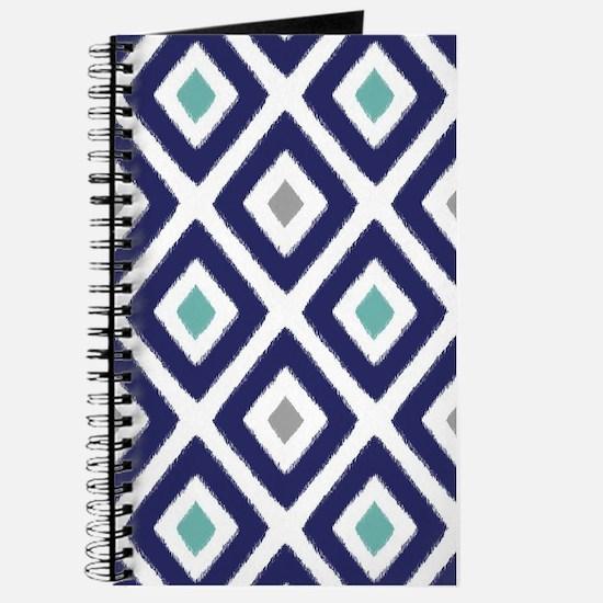 Ikat Pattern Navy Blue Aqua Grey Diamond Journal
