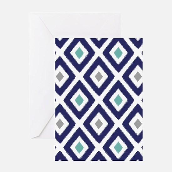 Ikat Pattern Navy Blue Aqua Grey Dia Greeting Card