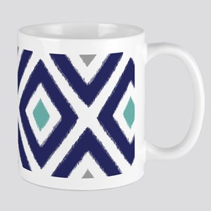 Ikat Pattern Navy Blue Aqua Grey Diamon Mug