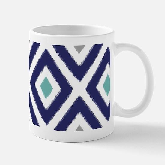 Ikat Pattern Navy Blue Aqua Grey Diamon Mug