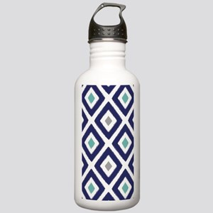 Ikat Pattern Navy Blue Stainless Water Bottle 1.0L