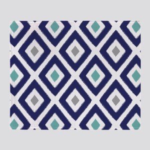 Ikat Pattern Navy Blue Aqua Grey Dia Throw Blanket