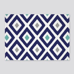 Ikat Pattern Navy Blue Aqua Grey Di 5'x7'Area Rug