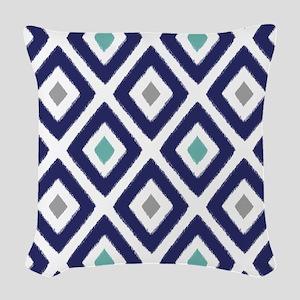 Ikat Pattern Navy Blue Aqua Gr Woven Throw Pillow