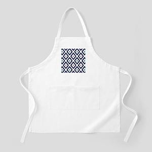 Ikat Pattern Navy Blue Aqua Grey Diamond Apron