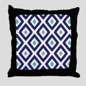 Ikat Pattern Navy Blue Aqua Grey Diam Throw Pillow
