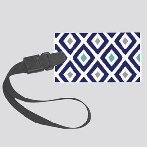 Ikat Pattern Navy Blue Aqua Grey Large Luggage Tag
