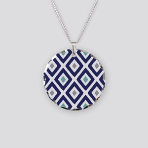 Ikat Pattern Navy Blue Aqua Necklace Circle Charm