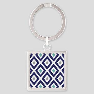 Ikat Pattern Navy Blue Aqua Grey D Square Keychain