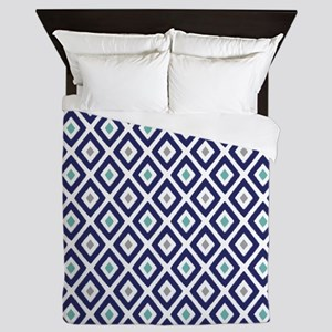 Ikat Pattern Navy Blue Aqua Grey Diamo Queen Duvet