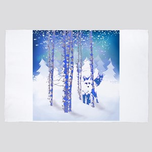 Blue Winter Snow Forest Fox Animal 4' x 6' Rug