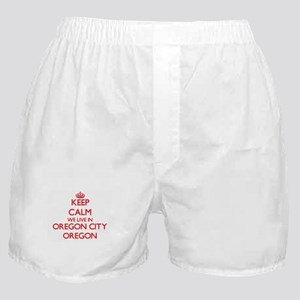 Keep calm we live in Oregon City Oreg Boxer Shorts