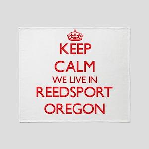 Keep calm we live in Reedsport Orego Throw Blanket