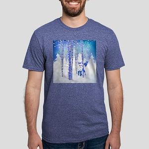 Blue Winter Snow Forest Fox Animal T-Shirt