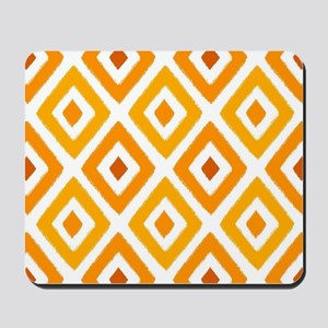 Ikat Pattern Orange Sunset Diamond Mousepad