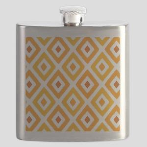 Ikat Pattern Orange Sunset Diamond Flask