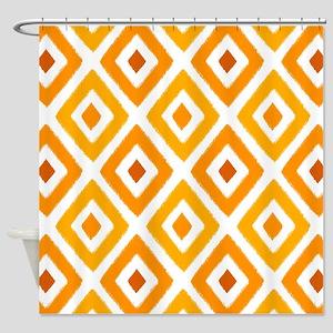 Ikat Pattern Orange Sunset Diamond Shower Curtain