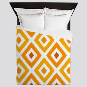 Ikat Pattern Orange Sunset Diamond Queen Duvet