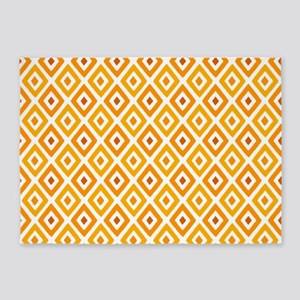 Ikat Pattern Orange Sunset Diamond 5'x7'Area Rug