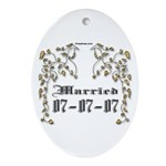 Anniversary Married 07-07-07 Ornament (Oval)