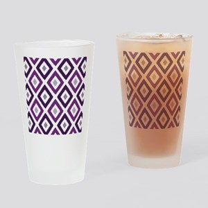 Ikat Pattern Purple Diamond Drinking Glass