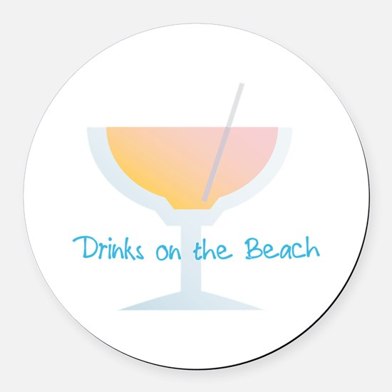 Drinks On The Beach Round Car Magnet