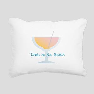Drinks On The Beach Rectangular Canvas Pillow