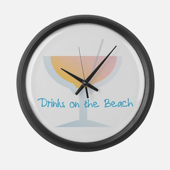 Drinks On The Beach Large Wall Clock