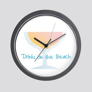 Drinks On The Beach Wall Clock
