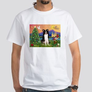 Christmas Fantasy Border Collie White T-Shirt