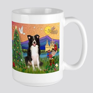Christmas Fantasy Border Collie Large Mug