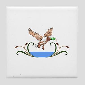 MALLARD DUCK AND CATTAILS Tile Coaster