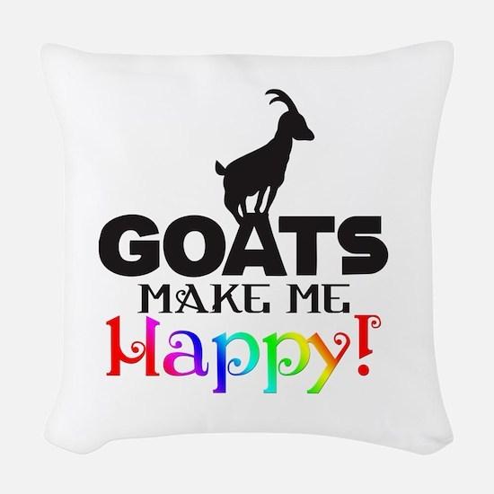 GOATS Make me Happy Woven Throw Pillow