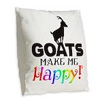 GOATS Make me Happy Burlap Throw Pillow